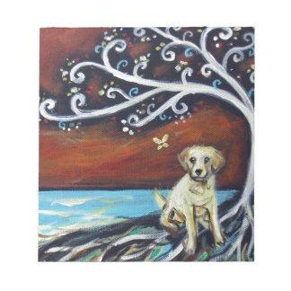 Yellow Labrador Love Tree of Life Notepad