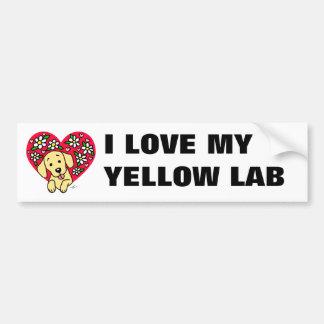 Yellow Labrador Mom Floral Heart Bumper Sticker
