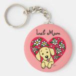 Yellow Labrador Mom Floral Heart Key Chain