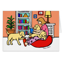 Yellow Labrador Mom Reading
