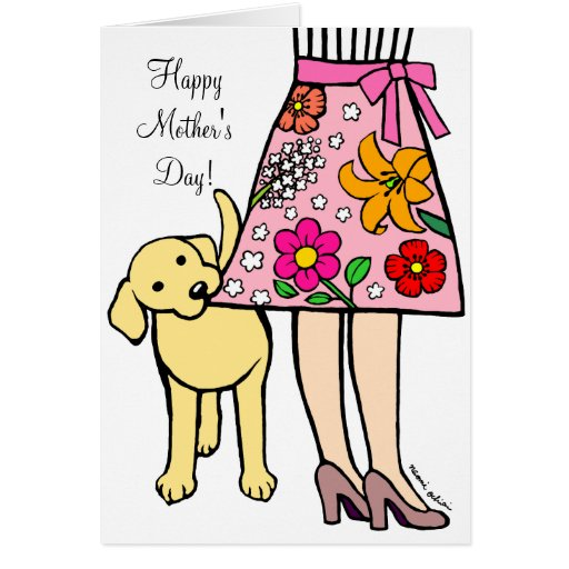Yellow Labrador & Mom's Skirt Cartoon Card