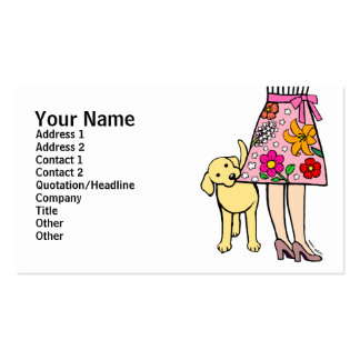 Yellow Labrador & Mom's Skirt Cartoon Double-Sided Standard Business Cards (Pack Of 100)