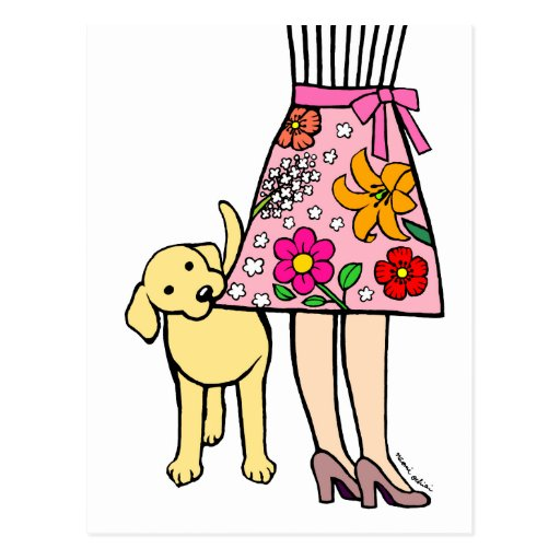 Yellow Labrador & Mom's Skirt Cartoon Postcard