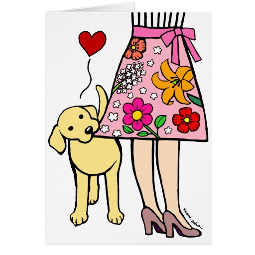 Yellow Labrador & Mom's Skirt Mother's Day Card