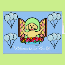 Yellow Labrador New Baby Boy Congratulations Card