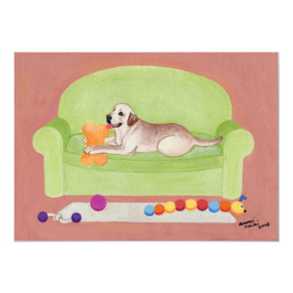 Yellow Labrador on the green couch Card