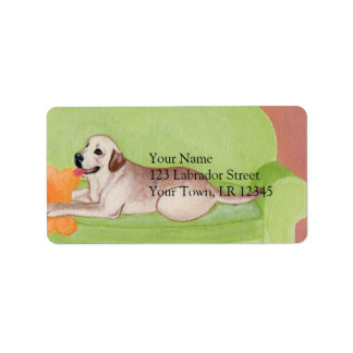 Yellow Labrador on the green couch Label
