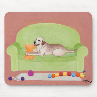 Yellow Labrador on the green couch Mouse Pad