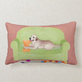 Yellow Labrador on the green couch Painting Lumbar Pillow