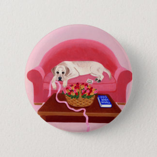 Yellow Labrador on the pink couch Button