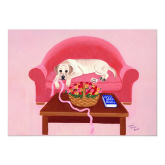 Yellow Labrador on the pink couch Card