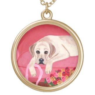 Yellow Labrador on the Pink Couch Gold Plated Necklace