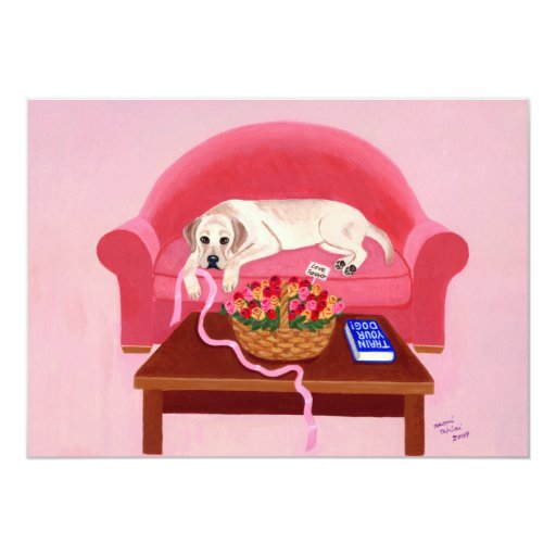 Yellow Labrador on the pink couch Invite