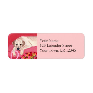 Yellow Labrador on the pink couch Label