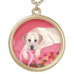 Yellow Labrador on the Pink Couch Pendants