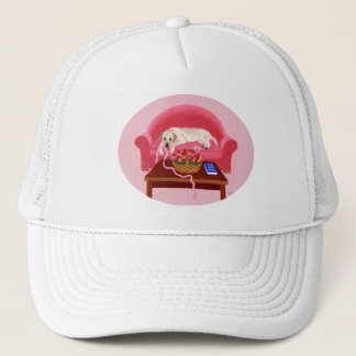 Yellow Labrador on the pink couch Trucker Hat