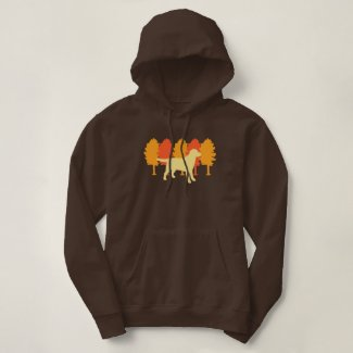 Yellow Labrador Outline Autumn Trees Hoodie