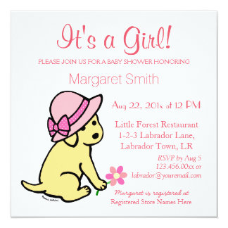 Yellow Labrador Pink New Baby Girl Baby Shower Card