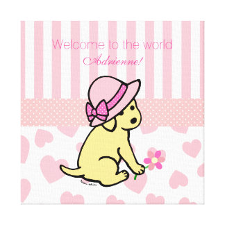 Yellow Labrador Pink New Baby Girl Congratulations Canvas Print