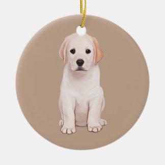 Yellow Labrador Puppy Ceramic Ornament