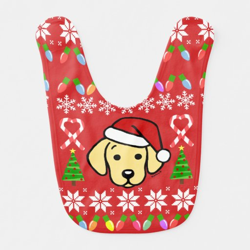 Yellow Labrador Puppy Christmas Pattern Bib
