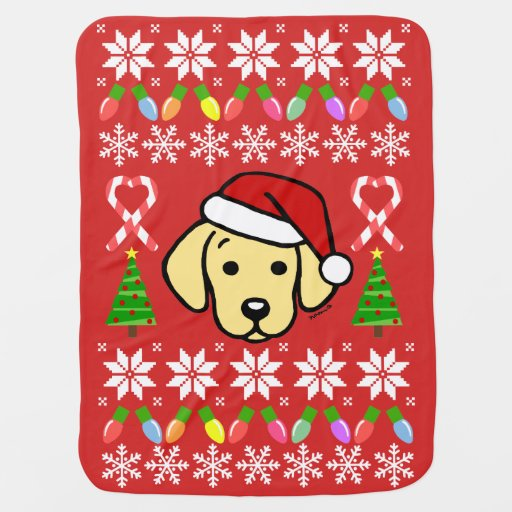 Yellow Labrador Puppy Christmas Pattern Swaddle Blanket