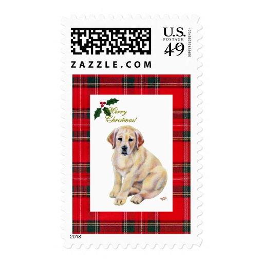 Yellow Labrador Puppy Christmas Stamp