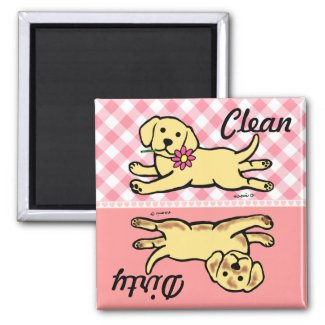 Yellow Labrador Puppy Clean / Dirty Refrigerator Magnet