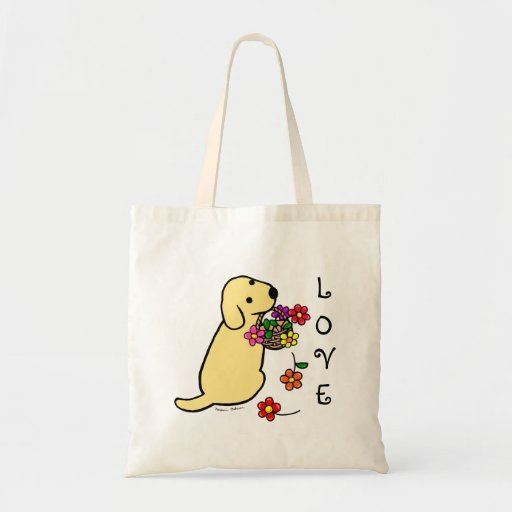 Yellow Labrador Puppy Flower Basket Cartoon Tote Bags
