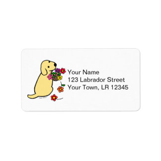 Yellow Labrador Puppy Flower Basket Cartoon Label