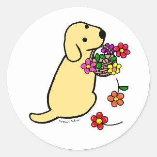 Yellow Labrador Puppy Flower Basket Cartoon Classic Round Sticker