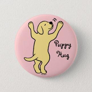 Yellow Labrador Puppy Hug Cartoon Button
