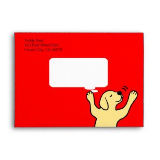 Yellow Labrador Puppy Hug Cartoon Envelope