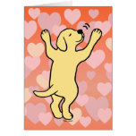 Yellow Labrador Puppy Hug Cartoon Hearts Card