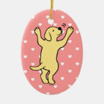 Yellow Labrador Puppy Hug Cartoon Christmas Tree Ornaments