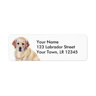 Yellow Labrador Puppy Painting Custom Return Address Labels