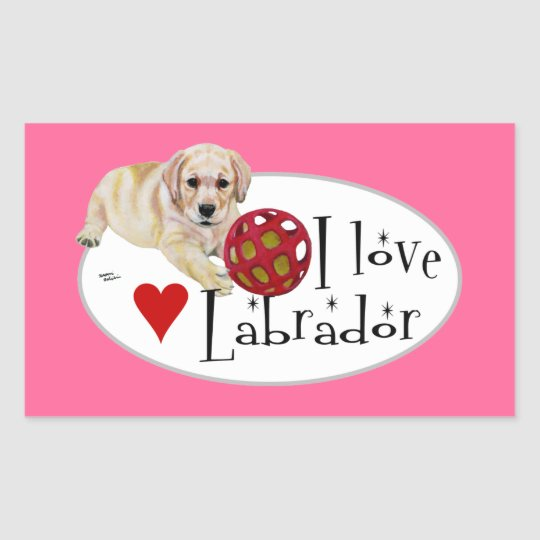 Yellow Labrador Puppy Painting Rectangular Sticker