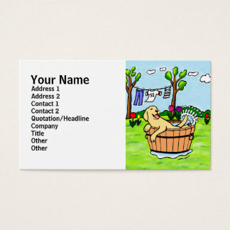 Yellow Labrador Puppy Pool Cartoon Business Card