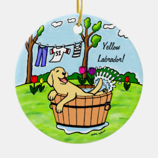Yellow Labrador Puppy Pool Cartoon Double-Sided Ceramic Round Christmas Ornament