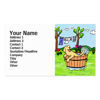 Yellow Labrador Puppy Pool Cartoon Double-Sided Standard Business Cards (Pack Of 100)