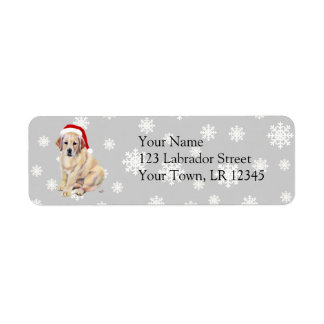 Yellow Labrador Puppy & Santa Hat Christmas Return Address Label