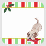 Yellow Labrador Puppy & Santa Hat Christmas Stickers