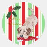 Yellow Labrador Puppy & Santa Hat Christmas Round Sticker