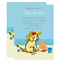 Yellow Labrador Puppy Straw Hat Baby Shower Invitation