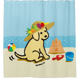 Yellow Labrador Puppy Straw Hat Cartoon Shower Curtain