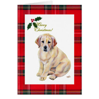 Christmas Cute Labrador Puppies Greeting Cards | Zazzle