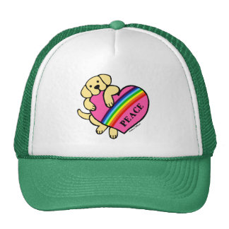 Yellow Labrador Rainbow Heart Trucker Hat
