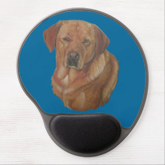 yellow labrador reteiver dog portrait art gel mouse pad