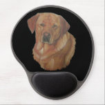 "yellow labrador retreiver dog portrait art gel mouse pad<br><div class=""desc"">This beautiful red/golden labrador retriever dog has a great Labby expression on her face and just like a true labrador she looks alert and ready to go, she also looks like she's asking for the attention all labradors crave for. This little lady dog is named Rosey and she&#39;s a rare...</div>"