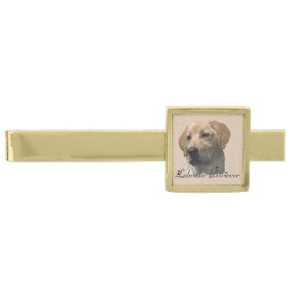 Yellow Labrador Retriever Art Gifts Gold Finish Tie Clip